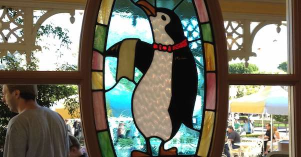 Penguin stained glass window from Disneyland Carnation Cafe