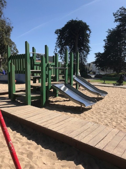 blue boat playground play structure in San Francisco