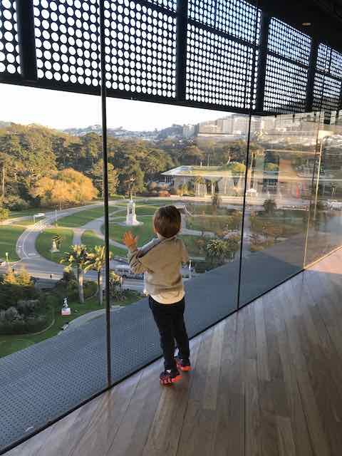 Boy looking out of glass window at the hamon observation tower in Golden Gate Park San Francisco
