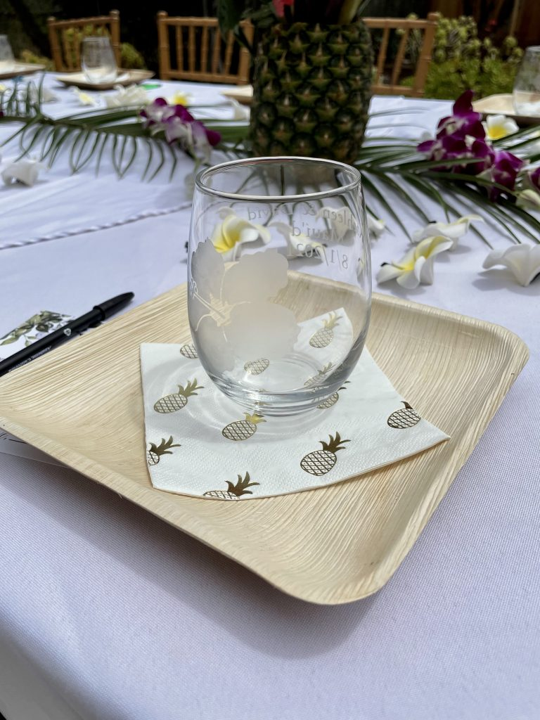 Custom Wedding Shower glass with hibiscus etched into it
