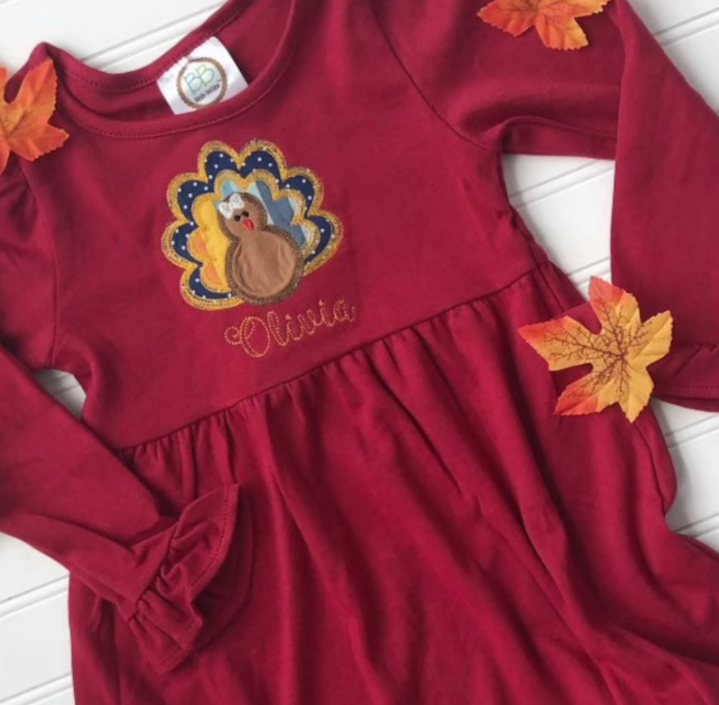 personalized burgundy dress for kids with turkey on it and child's name