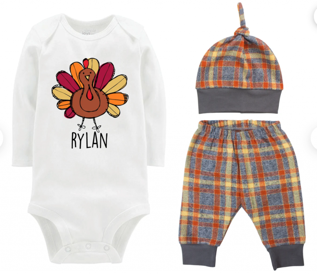 thanksgiving outfit baby onesie with name