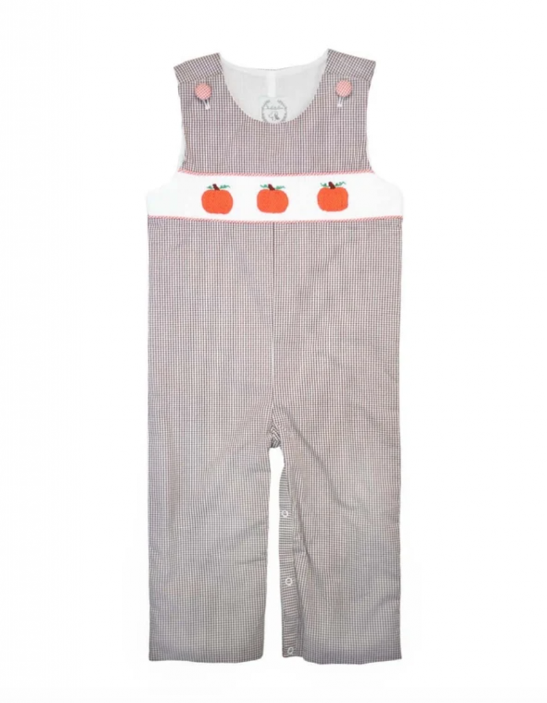 Thanksgiving Longall for small boys gingham with 3 pumpkin decorations on the front