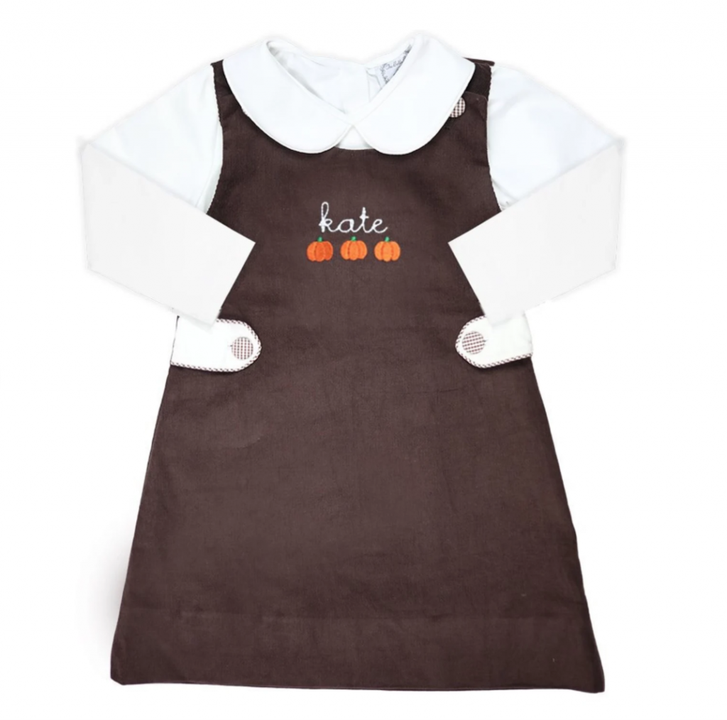 Brown Jumper dress for thanksgiving with pumpkins on it